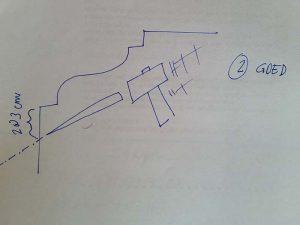 Hoe kap ik op een goede manier bepleistering weg onder een moulure? (schematische tekening)